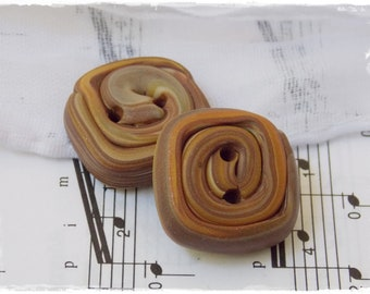 Large Square Buttons, Polymer Clay Buttons, Large Brown Buttons, Rectangular Buttons, Knitting Supplies, Cinnamon Roll Buttons (Set Of 2)