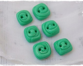 Polymer Clay Buttons, Mint Green Buttons, Tiny Square Buttons, Small Clay Buttons, Handmade Green Buttons, Square Buttons, Knitting Supplies