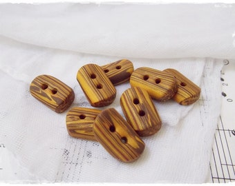 Polymer Clay Buttons, Striped Buttons, Brown Buttons, Gold Brown Buttons, Oblong Clay Buttons, Washable Buttons, Artistic Clay Buttons