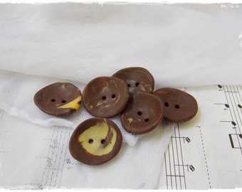 Chocolate Brown Buttons, Brown And Yellow Buttons, Polymer Clay Buttons, Large Handmade Pastel Button, Extra Large Buttons, Washable Buttons