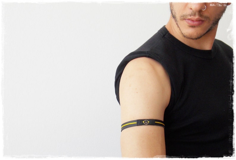 0ec32324cd718 Peace Arm Cuff, Upper Arm Bracelet, Leather Armband, Peace Sign Armlet,  Surfer Leather Arm Band, Elf Warrior Armband, Leather Elven Armband