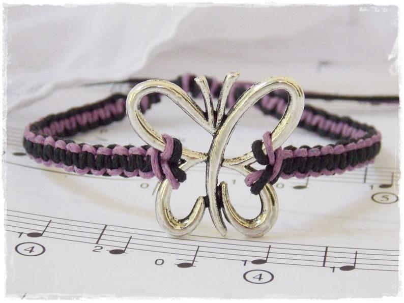 Best Friend Bracelet Butterfly Wish Bracelet Purple Macrame Bracelet Friendship Bracelet Butterfly Hemp Bracelet Girls Charm Bracelet