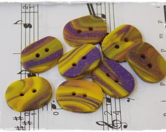 Multicolor Polymer Clay Buttons, Oblong Large Buttons, Purple & Yellow Buttons, Oval Handmade Buttons, Knitting Supplies, Stripped Buttons