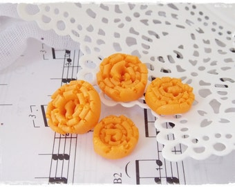 Polymer Clay Buttons, Canary Yellow Buttons, Small Round Buttons, Handmade Abstract Buttons, Pastel Orange Buttons, Swirl Artistic Buttons