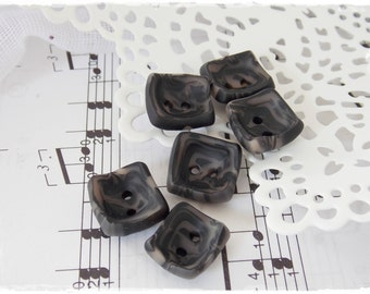 Polymer Clay Buttons, Black Clay Buttons, Small Square Buttons, Rectangular Buttons, Small Oblong Buttons, Charcoal  Buttons, Small Buttons