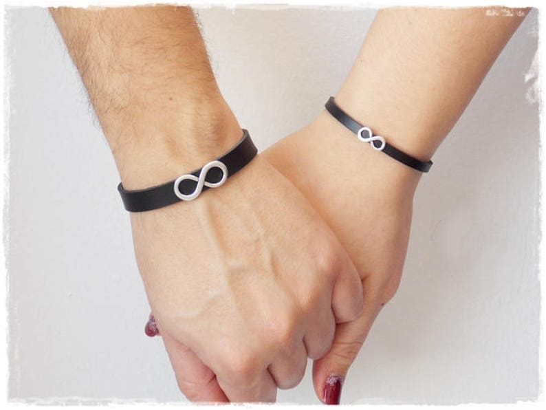 cee4e85d01ee0 His & Hers Leather Bracelets, Infinity Leather Bracelets, 3rd Anniversary  Bracelets, Couple's Bracelets, Couple's Infinity Bracelets