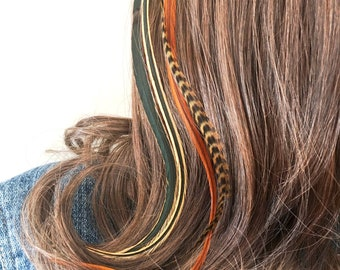 Feather Hair Extension Clip-In Feathers Long Brown Striped Hair Extension Women/'s Hair Accessories Hair Feathers