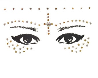 Gold stars face stick on freckles, stickers jewels, gems, festival, rave, makeup, bindis, rhinestones glitter decals, adhesive bling sparkle