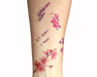 5 delicate floral temporary tattoos. Fresh spring bouquet collection, fashion, romantic, flower flowers, rose lavender cherry blossom violet