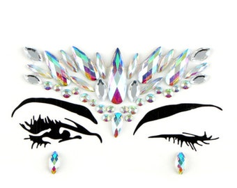 Festival face jewels, gems, all in one, body bindi stickers, stick on rhinestones, adhesive makeup, glitter, rave gift, eye crystals sticky