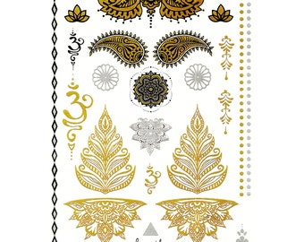 Temporary metallic tattoos in gold, bollywood party, flash, body art, tatoo, henna, om, bracelet, lotus, paisley, stick on tattoos, party