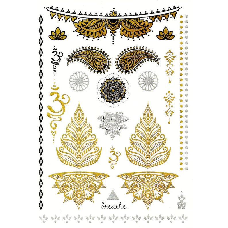 Temporary metallic tattoos in gold bollywood party flash image 0