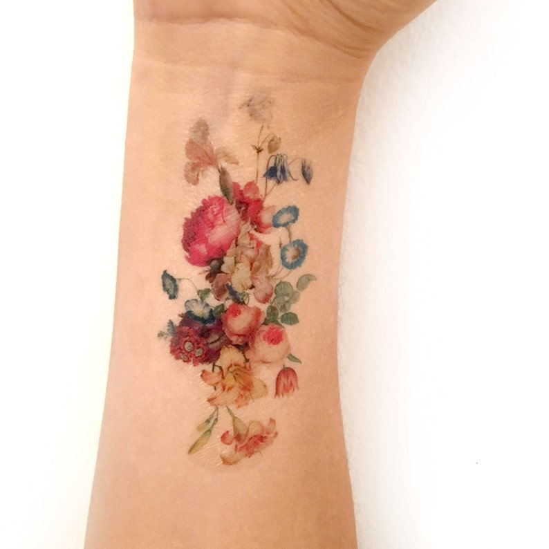 Vintage floral temporary tattoo. Fresh bouquet of flowers image 0