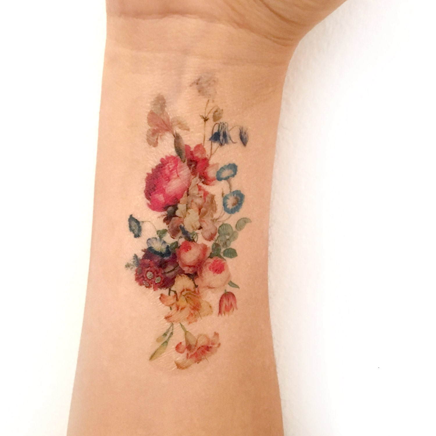 Vintage Floral Temporary Tattoo Fresh Bouquet Of Flowers Etsy
