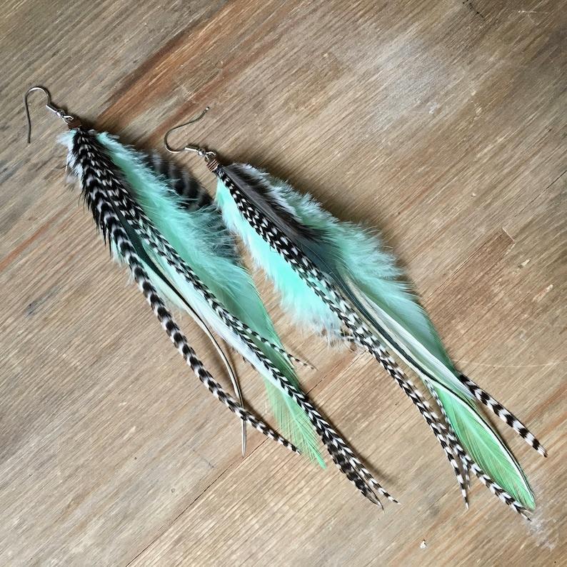Feather earrings in light mint  black striped pastel boho image 0