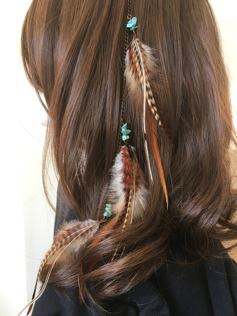 Feather hair clip in extension natural warm colors with image 0