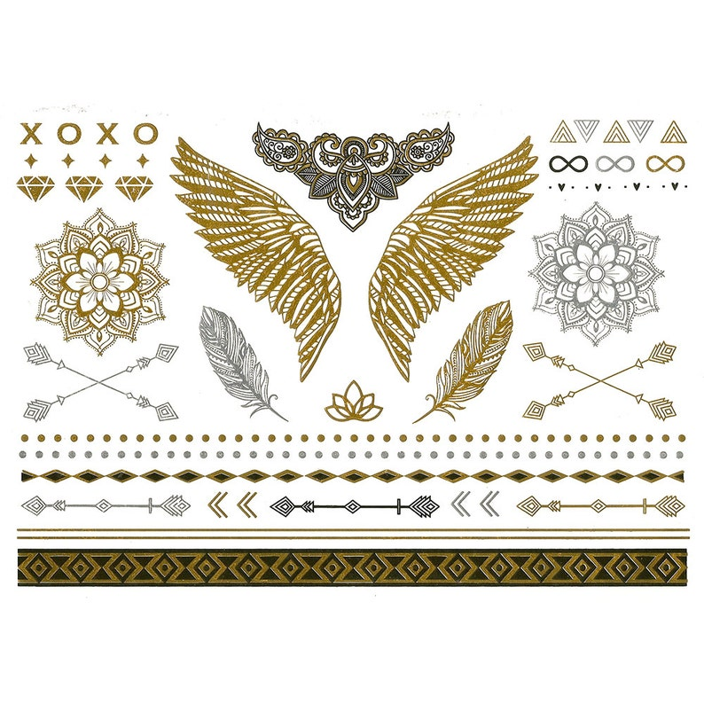 Designer temporary metallic tattoos in gold silver and black. image 0