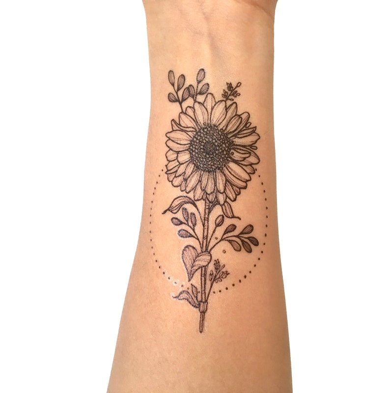 Sunflower temporary tattoo: professional quality black ink image 0