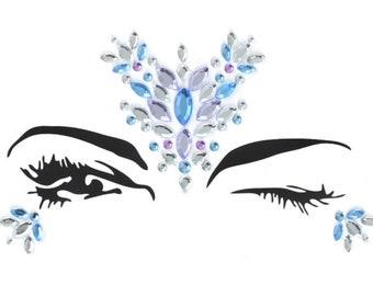 Festival face gems, stick on body jewels, bindi stickers, rhinestones, makeup, glitter, rave, halloween party, carnival, holo, iridescent