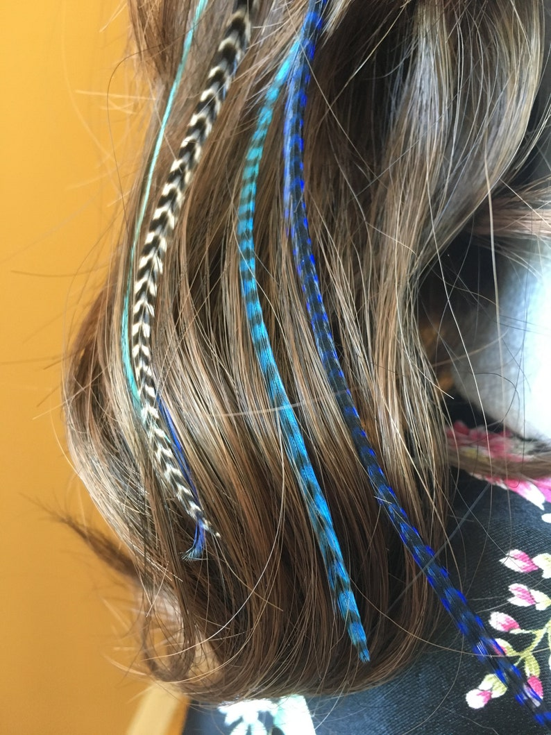 Feather hair extension clip in blue turquoise pale blue and image 0