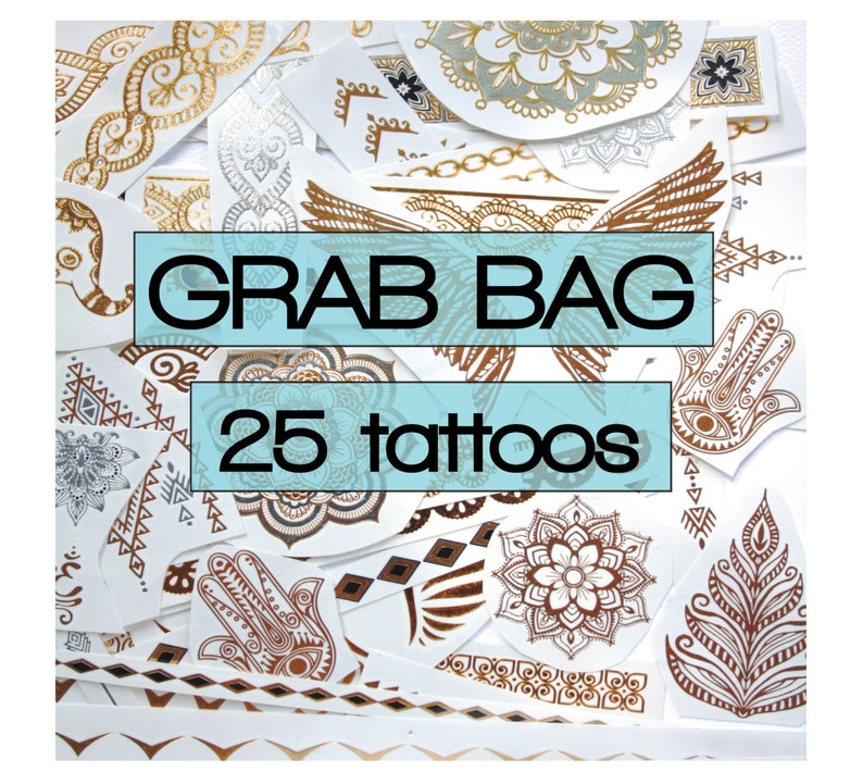 25 pieces of gold silver turquoise temporary metallic tattoos image 0