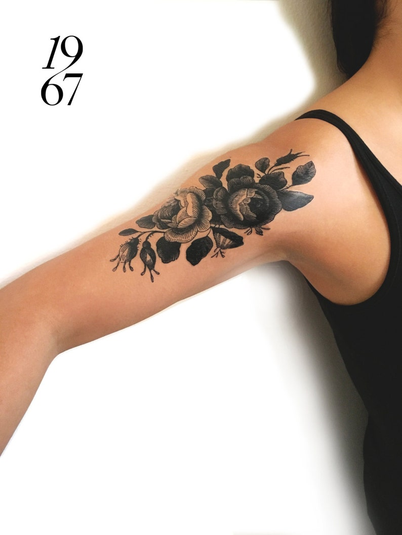 Large temporary tattoo: pair of vintage roses in black ink image 0
