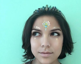 Face stickers jewels, gems, gold, festival, rave, makeup, bindis, stick on rhinestones, glitter glue eye adhesive eyebrows, decals, bling