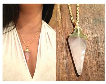 pink quartz necklace, pendant, gold dipped, layering, healing, arrow stone, gift for her, jewelry, gemstones, jewelry for women, fashion