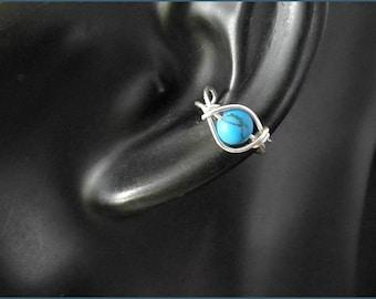 turquoise earcuff gold rosegold silver bead women earcuff sterling goldfill