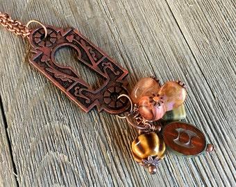 Antiqued Bronze Keyhole Escutcheon Pendant      Copper Keyhole Pendant  item 1045