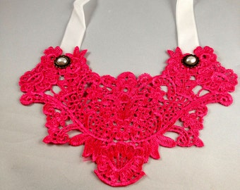 Lace Peter Pan Necklace  Neon Lace Colar Necklace   Bib Necklace  item 2220