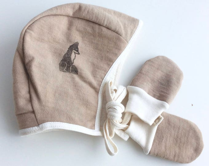 Baby Winter Hat and Mittens Set in Organic Cotton Fleece with Cotton Sherpa Lining