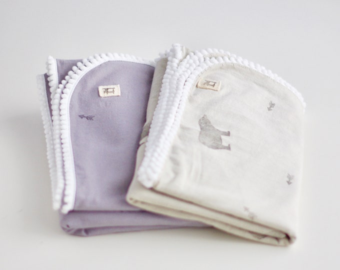 Printed Naturally Dyed Organic Cotton Jersey Receiving Blanket with Mini-Pompons trim