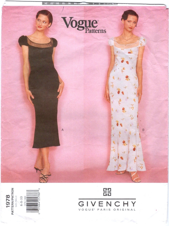 1990s Givenchy dress pattern by John Galliano - Vogue 1978