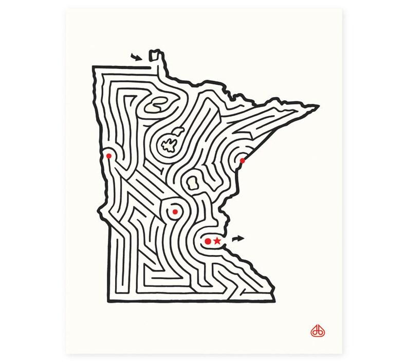 8x10 Minnesota Map State Maze Print Hand Drawn Design Etsy