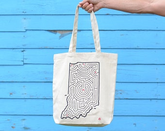Indiana State Maze Cotton Twill Tote Bag | Fort Wayne/Indianapolis/South Bend