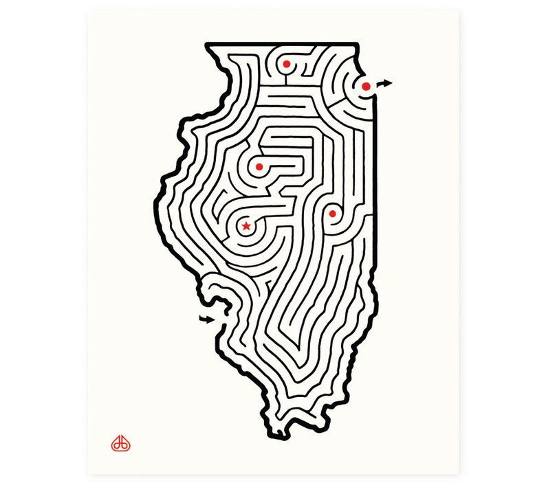 8x10 Illinois Map State Maze Print Hand Drawn Design Etsy