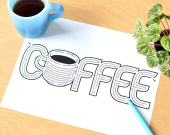 Coffee Word Maze / Instant DOWNLOAD Printable PDF / Hand-Designed Fun Activity for All Ages