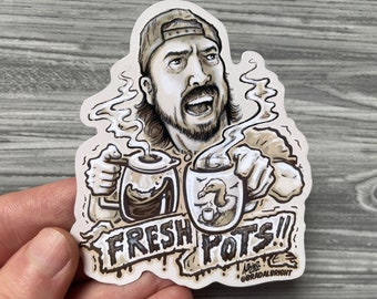Fresh Pots!! Dave Grohl Coffee Illustration - Stickers and Magnets - Waterproof Decals - FREE US SHIPPING