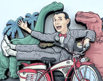 Pee Wee's Bike & Dinosaurs - 3D Layered Wall Art - Dimensional Wood and Archival Print Relief Sculpture