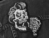Rockabilly Greaser Skull Patch - Metallic Embroidered Iron-On