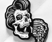 Greaser Rockabilly Skull Sticker Decal - Skull Singer with Vintage Microphone - FREE US SHIPPING
