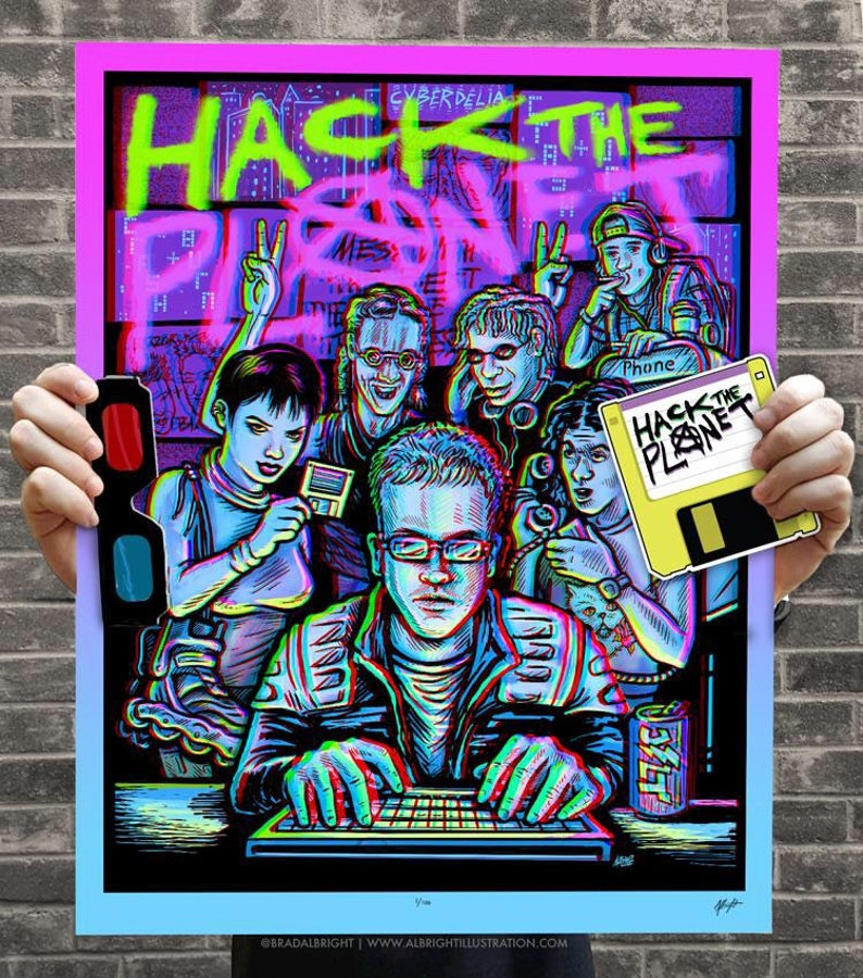 HACK THE PLANET Ltd 2nd Edition 3D Hackers Movie Poster with image 0