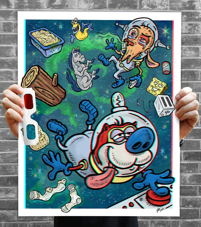 REN & STIMPY 3D Poster w/ Glasses  Space Madness 3D Anaglyph image 0