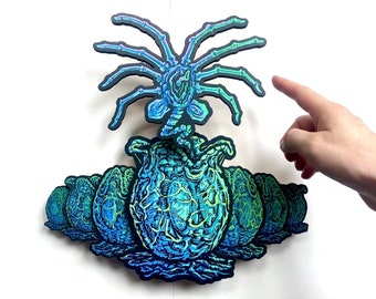 Facehugger & Alien Eggs - Interactive Wall Wobbler - Dimensional Wood Relief Sculpture Archival Giclee - FREE SHIPPING