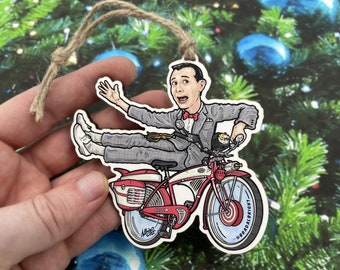 Pee Wee & His Bike - Ornament - Wood and Archival Giclee Print - Free Shipping!