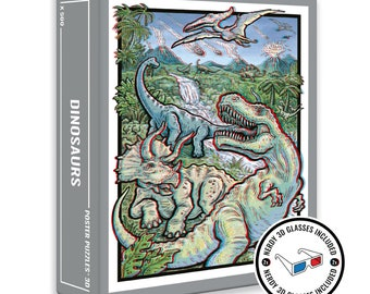 Dinosaurs 3D Jigsaw Puzzle - Poster Puzzle with 3D Glasses