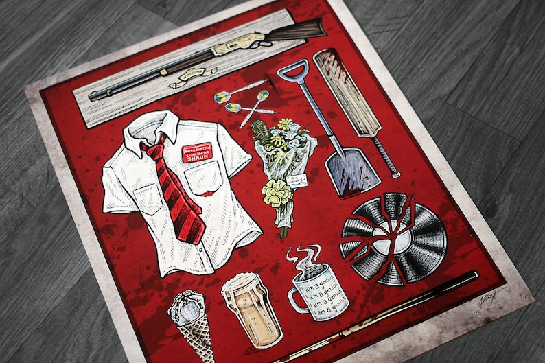 Shaun of the Dead Movie Poster  Signed Archival Giclee Print image 0