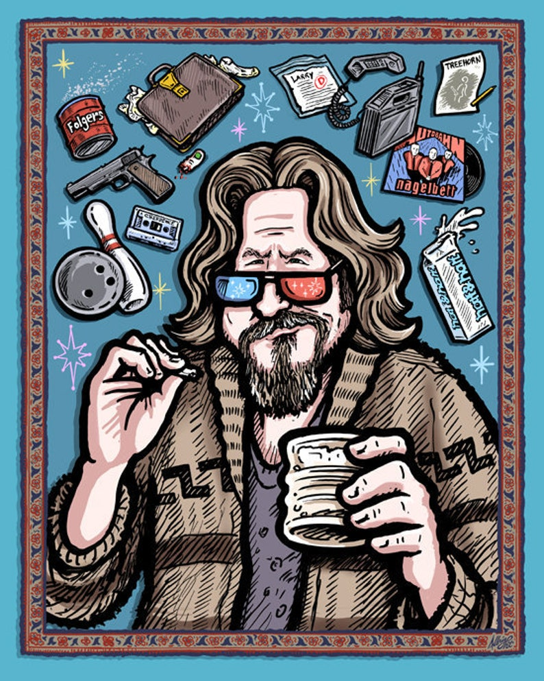 The Dude Abides  3D Poster with Glasses  Big Lebowski 3D image 0