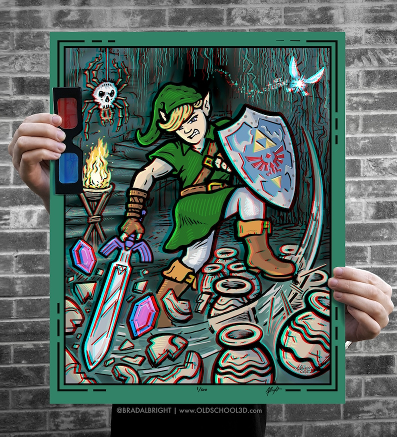 Link Breaking Pots  Zelda Ocarina of Time  Limited Edition image 0